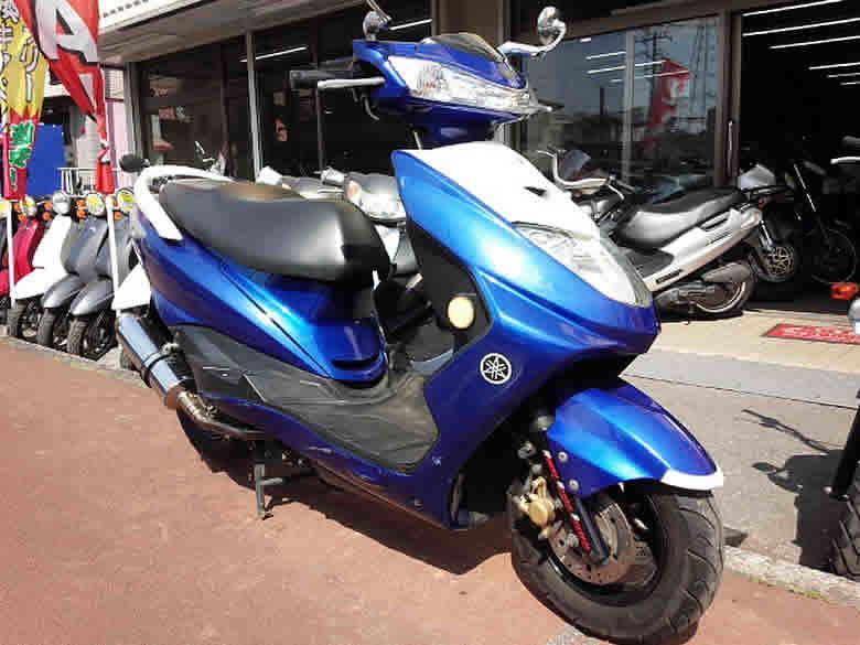 ヤマハ シグナス125Z 中古車 ブルー&ホワイト 走行距離10,791km ステンレスマフラー付 4サイクルエンジン
